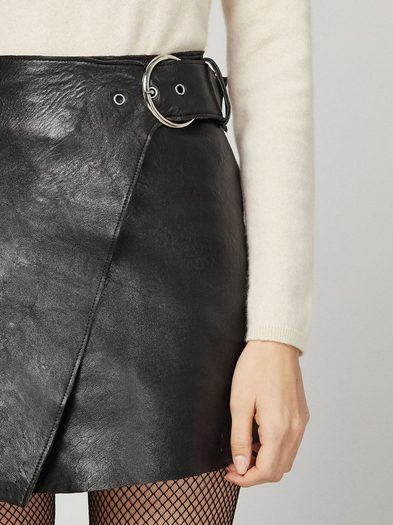 Yep. This is a leather mini skirt that wraps in front and buckles at the waist.http://bit.ly/2heauvC