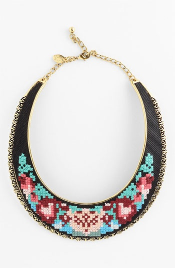 Spring Street Design Group Embroidered Bib Necklace available at Nordstrom
