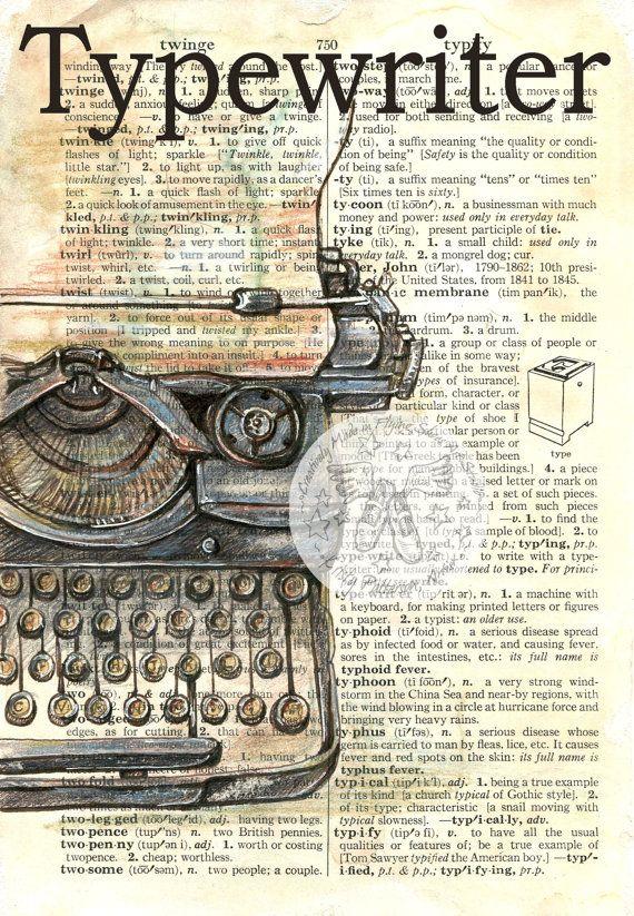 PRINT: Typewriter Mixed Media Drawing on por flyingshoes en Etsy