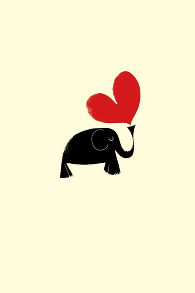 Love Heart Elephant Background #iPhone #4s #wallpaper