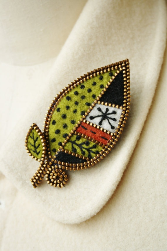 Felt and zipper leaf brooch by woollyfabulous on Etsy, $34.00