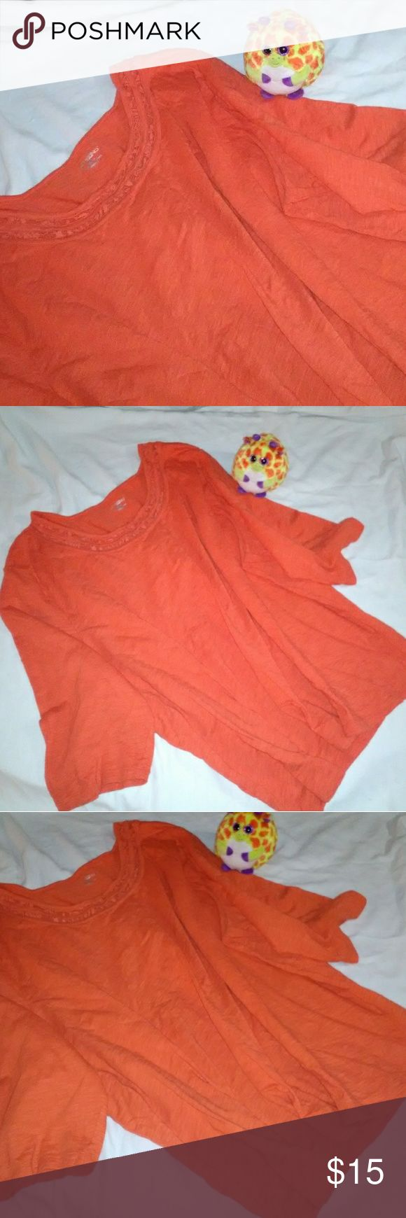 Catherines Loud Orange Juice Long Sleeve Top Sz 3X Offered here is a fresh squeezed loud and bright orange long-sleeved blouse / top. I absolutely love the saturated color of the shirt. It is a size 3x 26/28 w. Please note, anything photographed along with this shirt is not included. Tops Tees - Long Sleeve