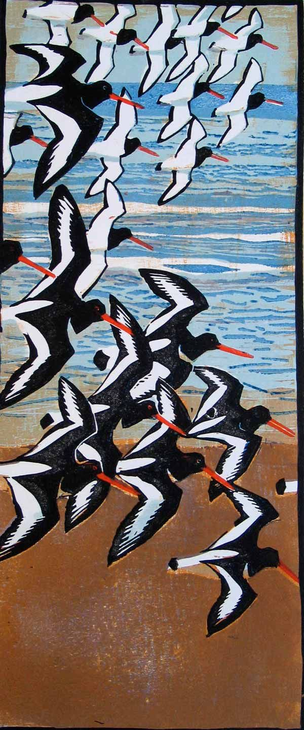 Robert Greenhalf (1950-): Oystercatchers, woodcut