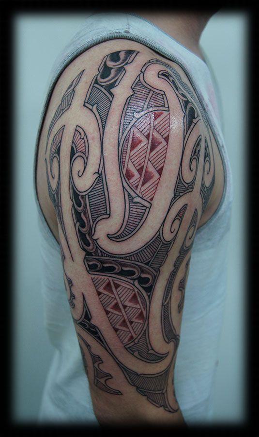 Custom Ta Moko New Zealand Maori Pacific Tribal kirituhi Half Sleeve with Samoan Pattern Blend Tattoo Design_tattoo gallery