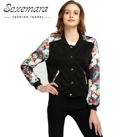 8f91fbea2aa Plus Size Bomber Baseball Jacket Button Suit 2017 Women Spring Autumn Print  Tops Long Sleeve Basic