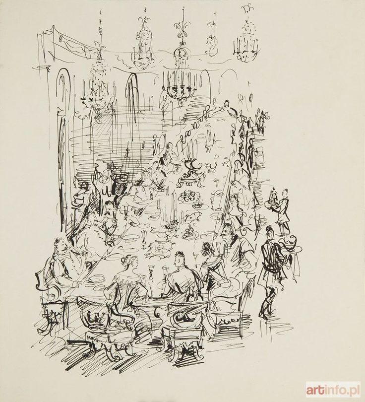 Antoni UNIECHOWSKI ● Uczta - ilustracja do Potopu Henryka Sienkiewicza ●