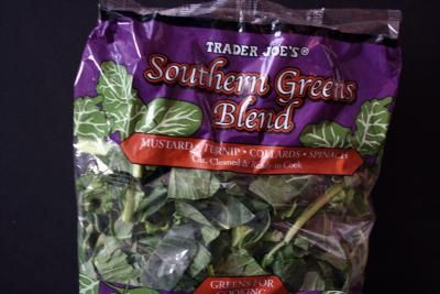Louisiana Style Greens with Sausage (Andouille or Vegetarian)   All recipes with Trader Joes products for easy, quick, healthy meal ideas