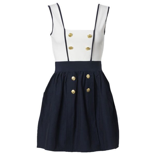 Dresses - Day - Nautical Pinafore Dress - AX Paris - Fashion Dresses |... ($19) ❤ liked on Polyvore featuring dresses, vestidos, платья, abiti, pinafore dress, going out dresses, holiday party dresses, ax paris and night out dresses