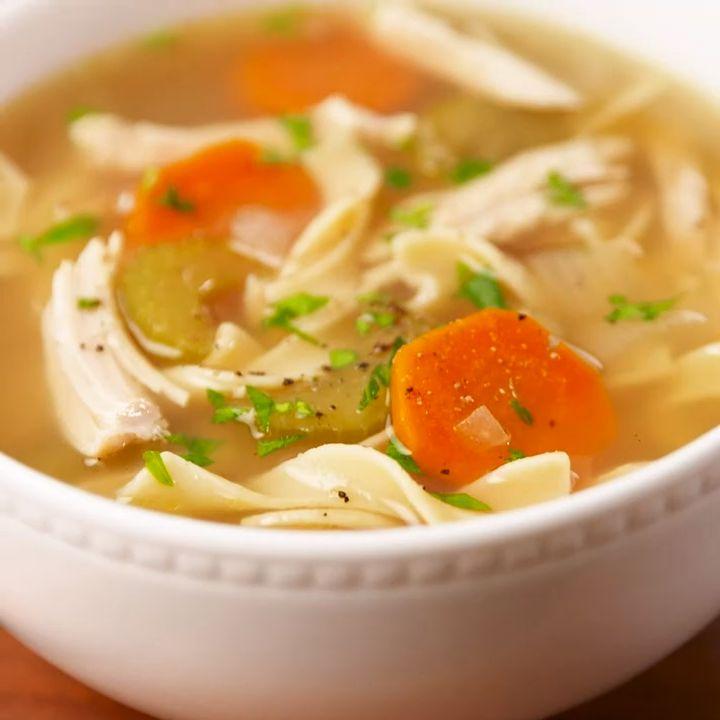 easy crockpot chicken noodle soup video  recipe video