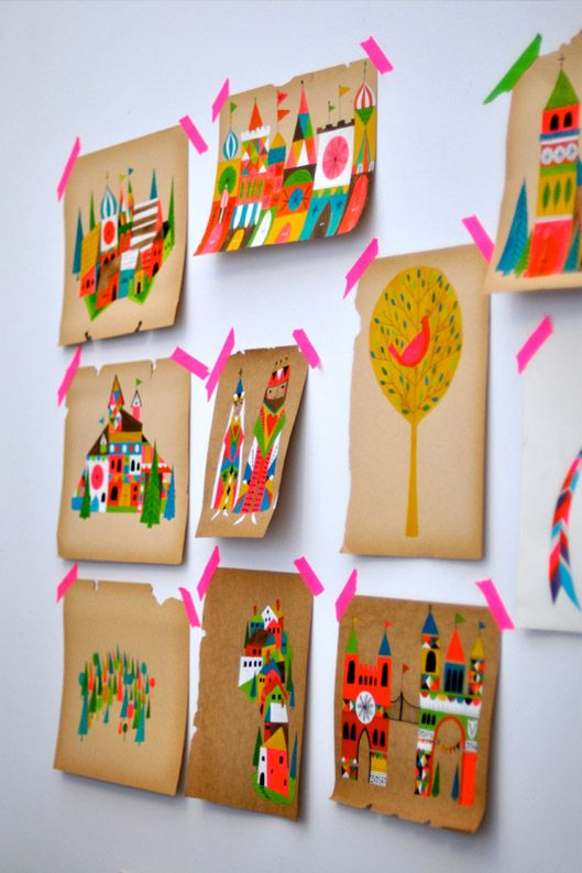 Pretty, colourful illustrations with pink tape.