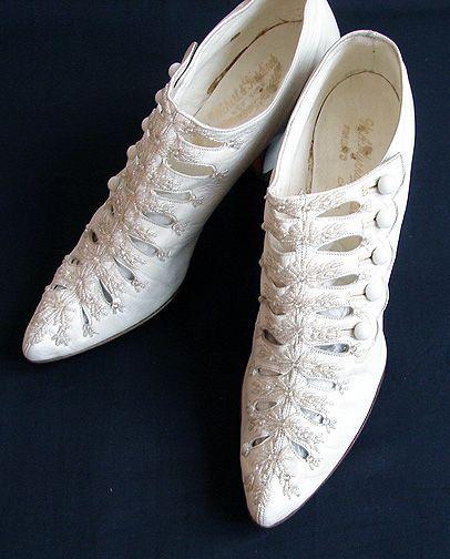 Maria Niforos - Fine Antique Lace, Linens & Textiles : Antique & Vintage Accessories # AC-19 Circa 1900's, Ornate Ladies Shoes w/ Beads