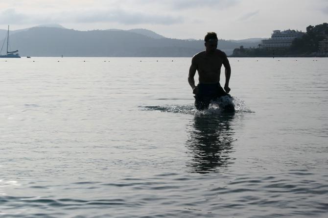 Swim session at Santa Ponsa beach in May last year. Photo: Ida Carr for www.mallorcatrainingcamp.se