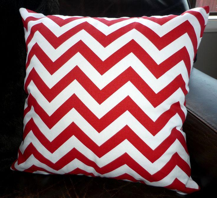 Red & white chevron cushion cover