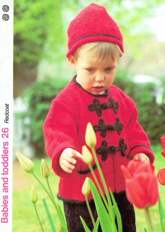 Baby 'Military' Coat & Hat Knitting Pattern, FROGGING, Children, Toddler, Victoriana, Pixie Hood, Fantasy, Folk, Rustic,  Costume