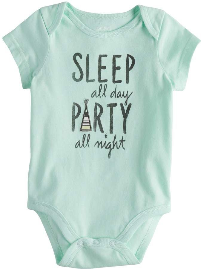 4ace7b7929 Baby Girl Jumping Beans Sleep All Day Party All Night Graphic Bodysuit  #diymaternityclothesjeans