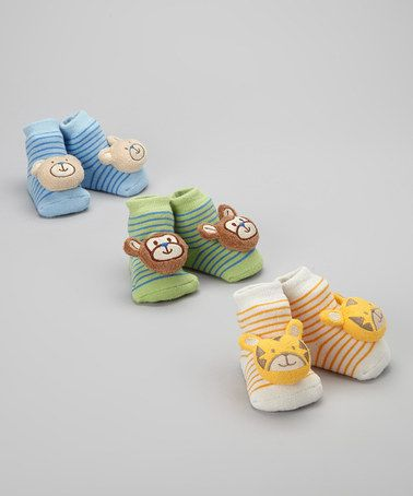 Take a look at this Blue Animal Rattle Socks Set by Baby Gear on #zulily today!