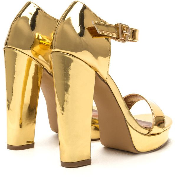 Glam Life Metallic Platform Heels ❤ liked on Polyvore featuring shoes, pumps, heels, gold, gold shoes, metallic pumps, gold pumps, heel pump and metallic heel pumps