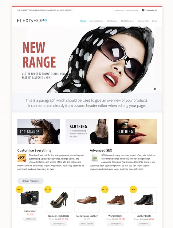 This ecommerce WordPress template features WooCommerce compatibility, a responsive layout, SEO-friendly code, shortcodes, unlimited sidebars and colours, and much more.