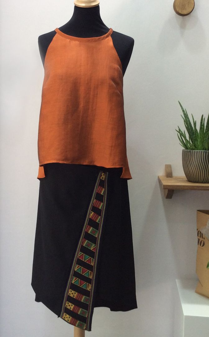 summer top and 100% linen folded skirt with embroidered stripes