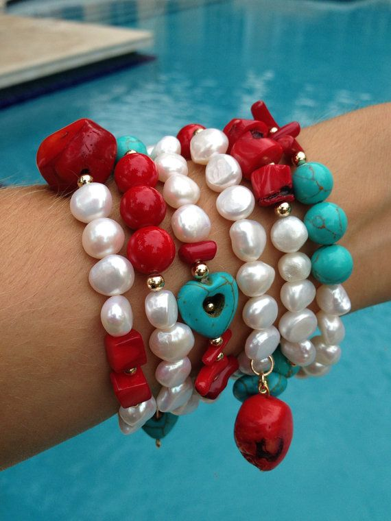 Pearls on a Sunny afternoon by strawberryandlime on Etsy, $60.00 #bracelets #armcandy #armparty #fashion #design #style #trend #wristparty #wristcandy #pulseras #fashion #accessories #necklace #ring #hamsa #evileye #yoga #lotoflower #flowers #rose #cute #pretty #pink #strawberrynlime #cute #colorful #neon #gold #pearls #coral #turquoise #pool #summer