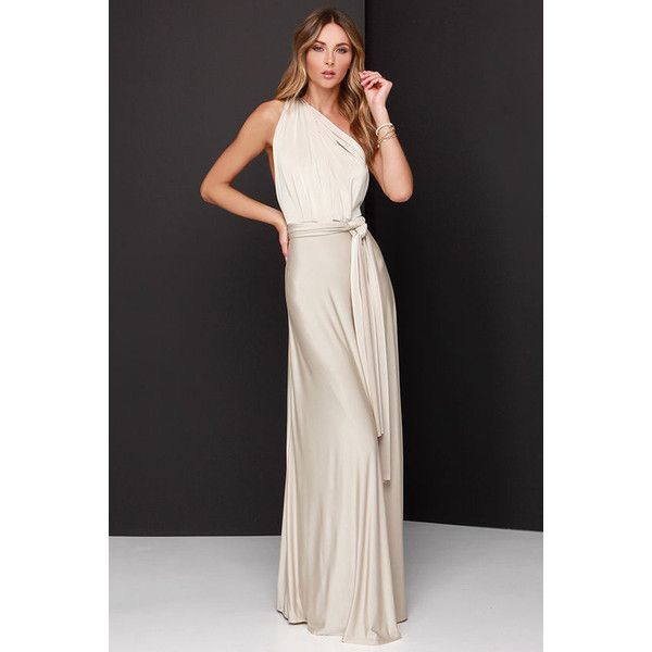 Always Stunning Convertible Beige Maxi Dress (9.560 HUF) ❤ liked on Polyvore featuring dresses, gowns, long beige skirt, stretch maxi skirt, long evening dresses, convertible maxi skirt and beige maxi skirt