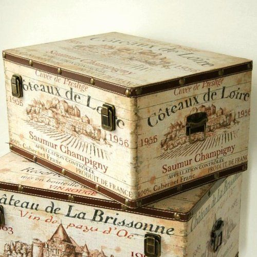 French Champagne labeled cases....gorgeous!!  I would LOVE to have some of these!