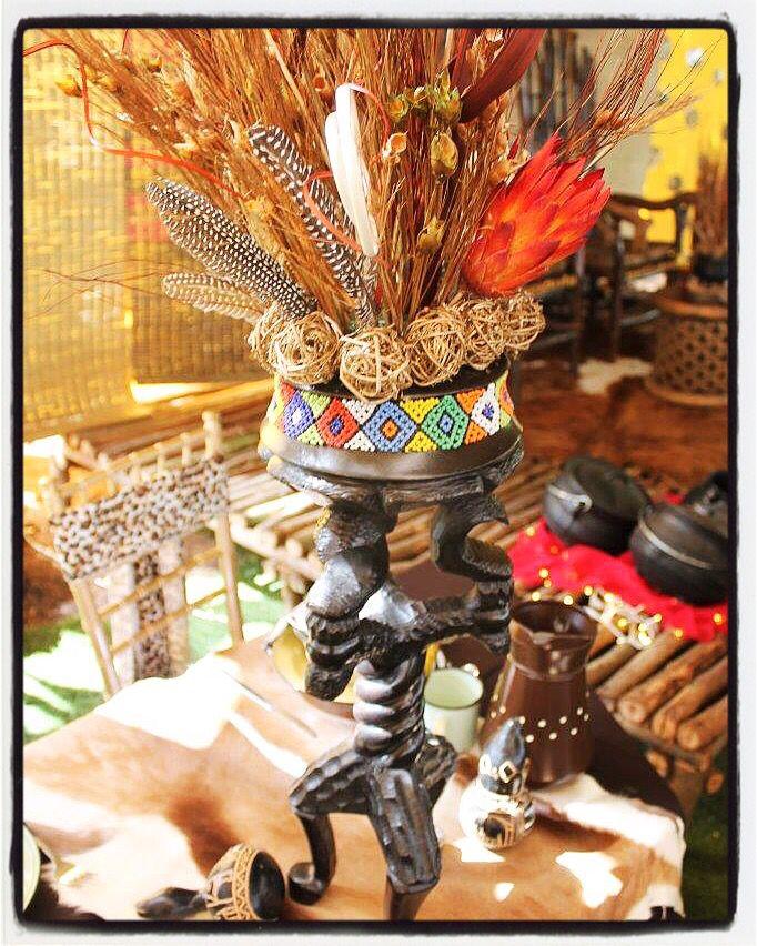 Traditional african wedding decor. Zulu wedding. Wedding ideas. Wedding centerpieces. www.secundatents.com
