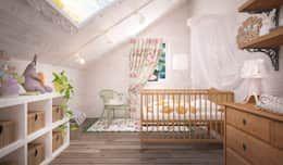 Recámaras infantiles de estilo mediterraneo por Дизайн-бюро Анны Шаркуновой 'East-West' https://www.homify.com.mx/libros_de_ideas/45789/ideas-para-que-la-habitacion-de-tu-bebe-luzca-hermosa