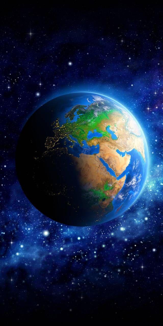 Blue Wallpaper Iphone Wallpaper Earth Galaxy Art Planets Wallpaper