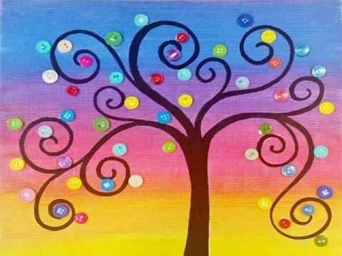 Rainbow Button Tree Acrylic Painting Lesson by Angela Anderson Free on YouTube Summer Art Camp for Kids and Beginners