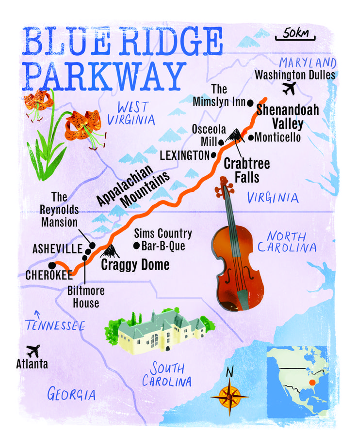 Blue Ridge Parkway map by Scott Jessop. August 2013 issue.