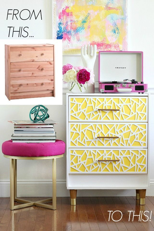 Mid Century Modern and Bright Ikea Rast Hack featuring Pittsburgh Paints & Stains. Thanks to Blogger Bliss at Home for creating such a fun furniture flip.