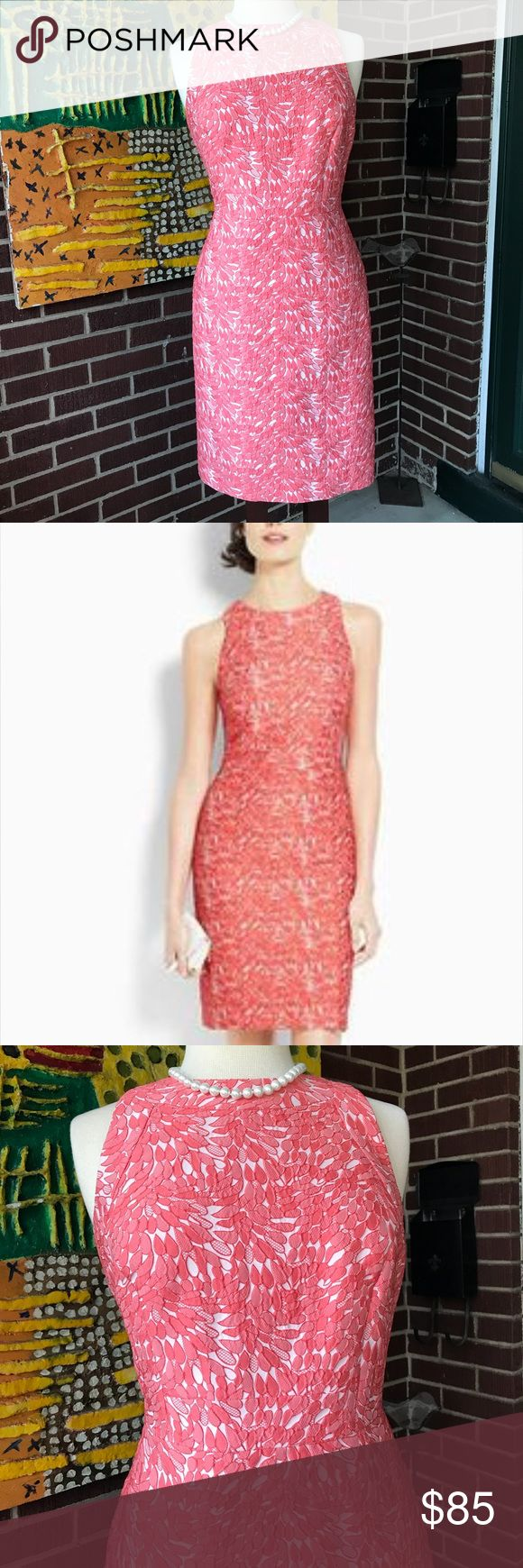 Ann Taylor Lace Coral   Sheath Dress This dress from Ann Taylor is chic and very elegant. Perfect for wedding, interviews, and formal parties. It has a gorgeous silhouette.  Definitely a stunning dress. With back zip up closure and lined. Like new condition. Ann Taylor Dresses Mini