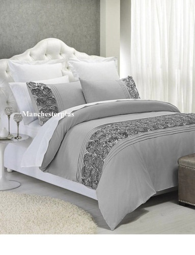 3 Pce Rosette Silver King Quilt Doona Cover Set New