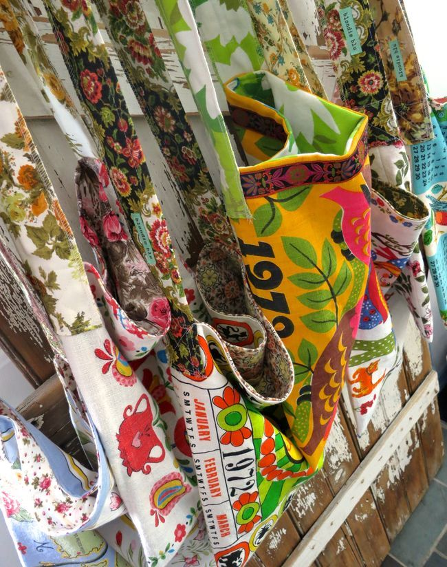 Tea Totes made from vintage tea towels.