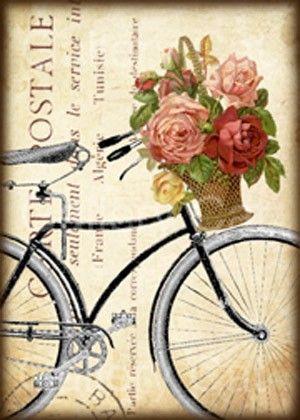Antigua bicicleta con cesta de rosas Collage Digital por GalleryCat