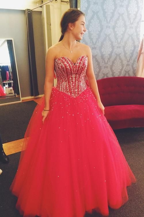 Hot Pink Prom Dresses,Tulle Prom Dresses,Princess Prom Dress,Long Prom Gown,Corset Prom Dresses,Silver Beaded Evening Dress,2018 Prom Dress PD20185201