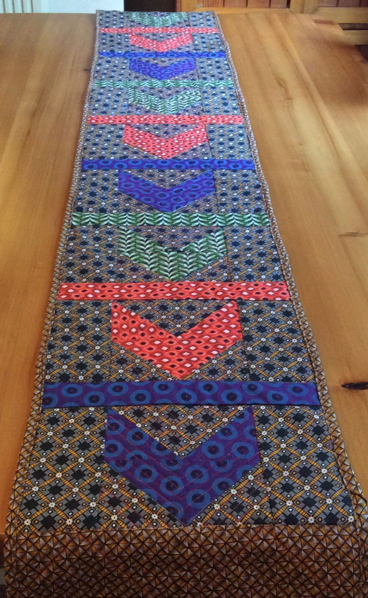 Table runner using my South African Shweshwe material