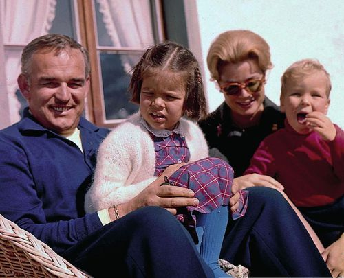 Princess Grace and Prince Rainier with their children Caroline (5) and Albert (4) pictured in Gstaad, Switzerland, Feb. 1962.