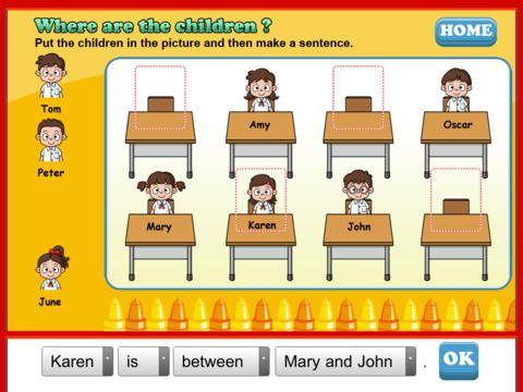 I can write 2 hjælper dig med at lave sætninger. Den træner præpositioner. Where is..... Appen er gratis.