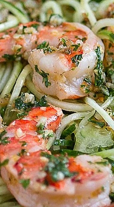 Cucumber Noodles with Garlic Shrimp  –  A simple, delicious, and  healthy meal ready in less than 15 min. ❊