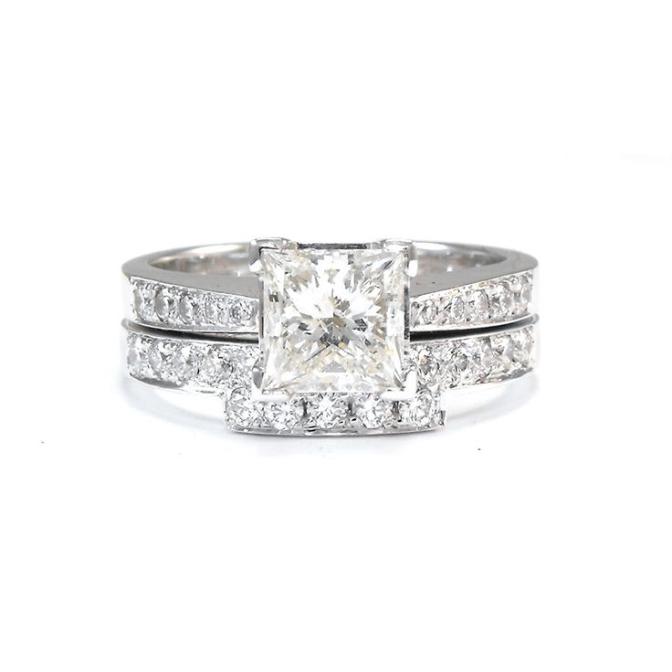 Trendy Just finished handmade diamond wedding ring to fit princess cut diamond engagement ring I made
