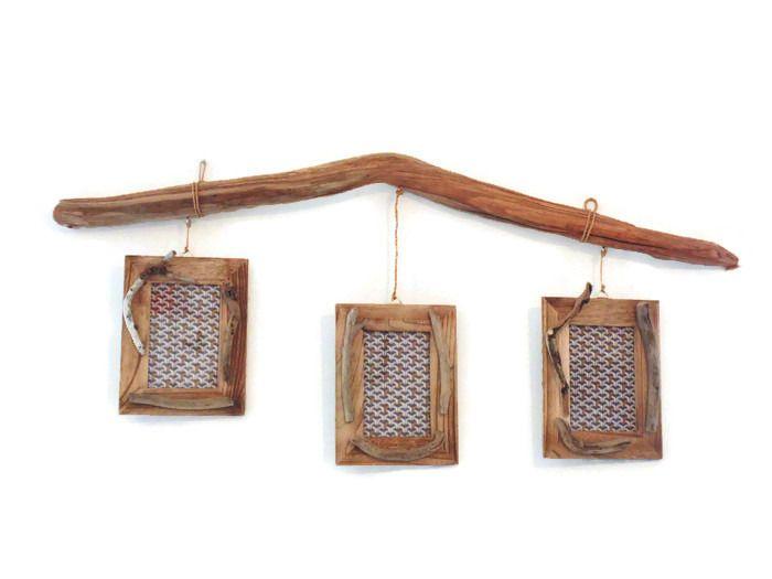 cadres photos suspendus sur bois flotté - trio de cadres - déco triptyque - création unique