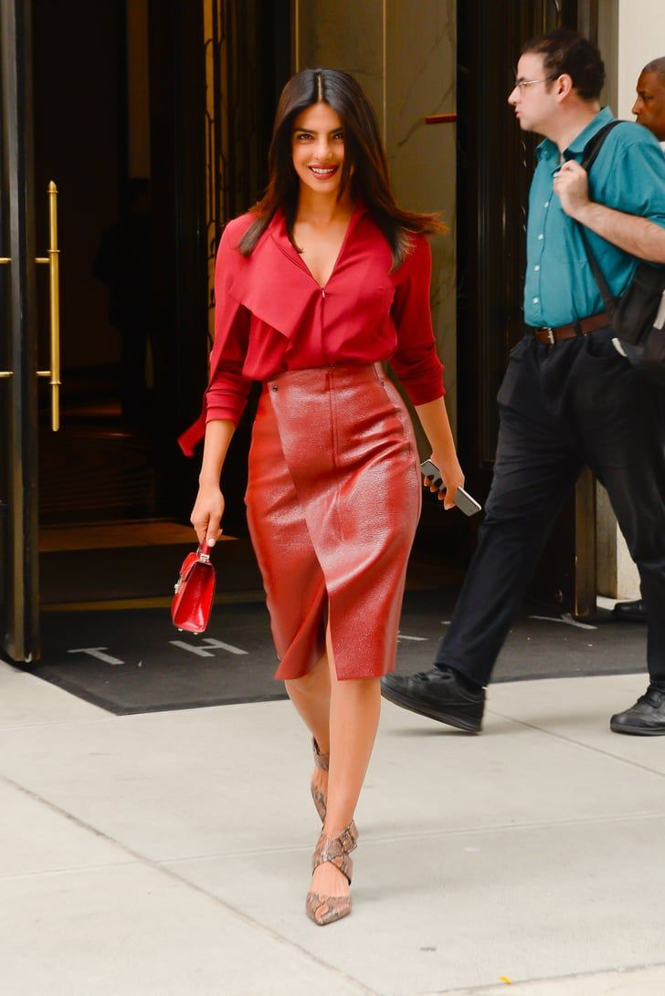 56e9edcda328 Priyanka Chopra Looked Red Hot in This Monochromatic Outfit, but Her  Leather Skirt Stole the Show