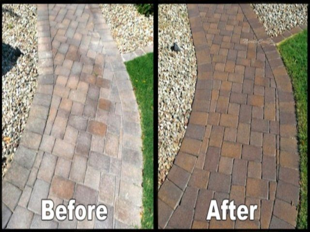 Amazing Results Of How Well Grout Eez Works On Brick Pavers Painted Pavers Brick Pavers Paver