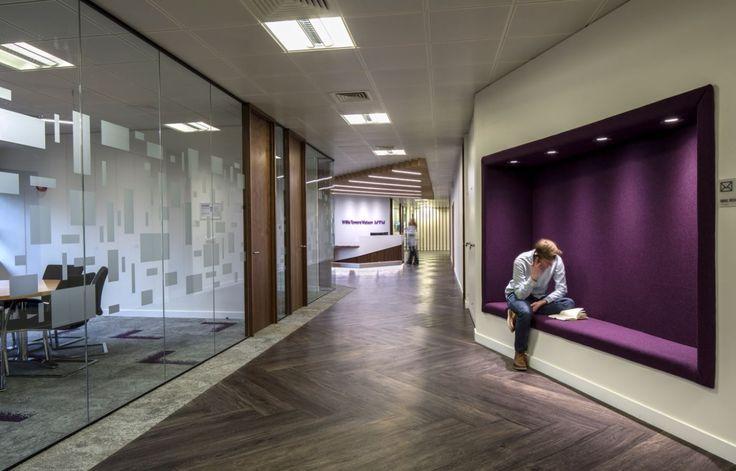 Willis Towers Watson - Welwyn Garden City. Copyright: Workplace Creations Ltd. #wpclondon #Reception #quiet #alcove #manifestation #herringbone #modern #office #design #officedecor #fitout #interiordesign #itmatters
