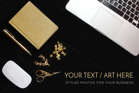 Glitter Gold Black Desktop Photography Gold Mock by confettibears