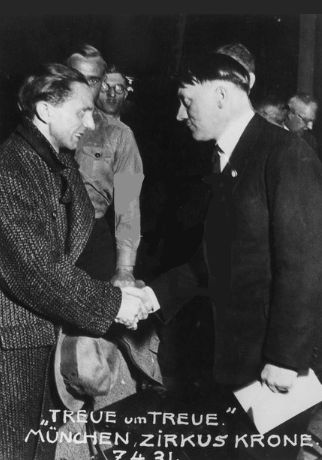 One of the rarest photos ever of Joseph Goebbels with Adolf Hitler, on April 7, 1931 at Munich's Zirkus Krone. A horribly unflattering photo of Hitler, though Goebbels looks dapper as usual. The Beatles also played at the Kirkus Krone in 1966.