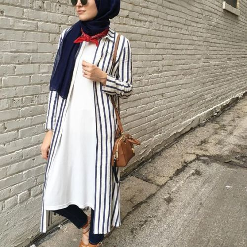 Striped long tunic hijab-Everyday hijab outfits – Just Trendy Girls