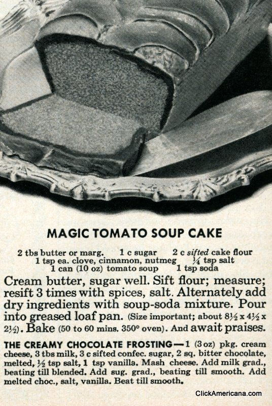 Magic tomato soup cake recipe (1950)
